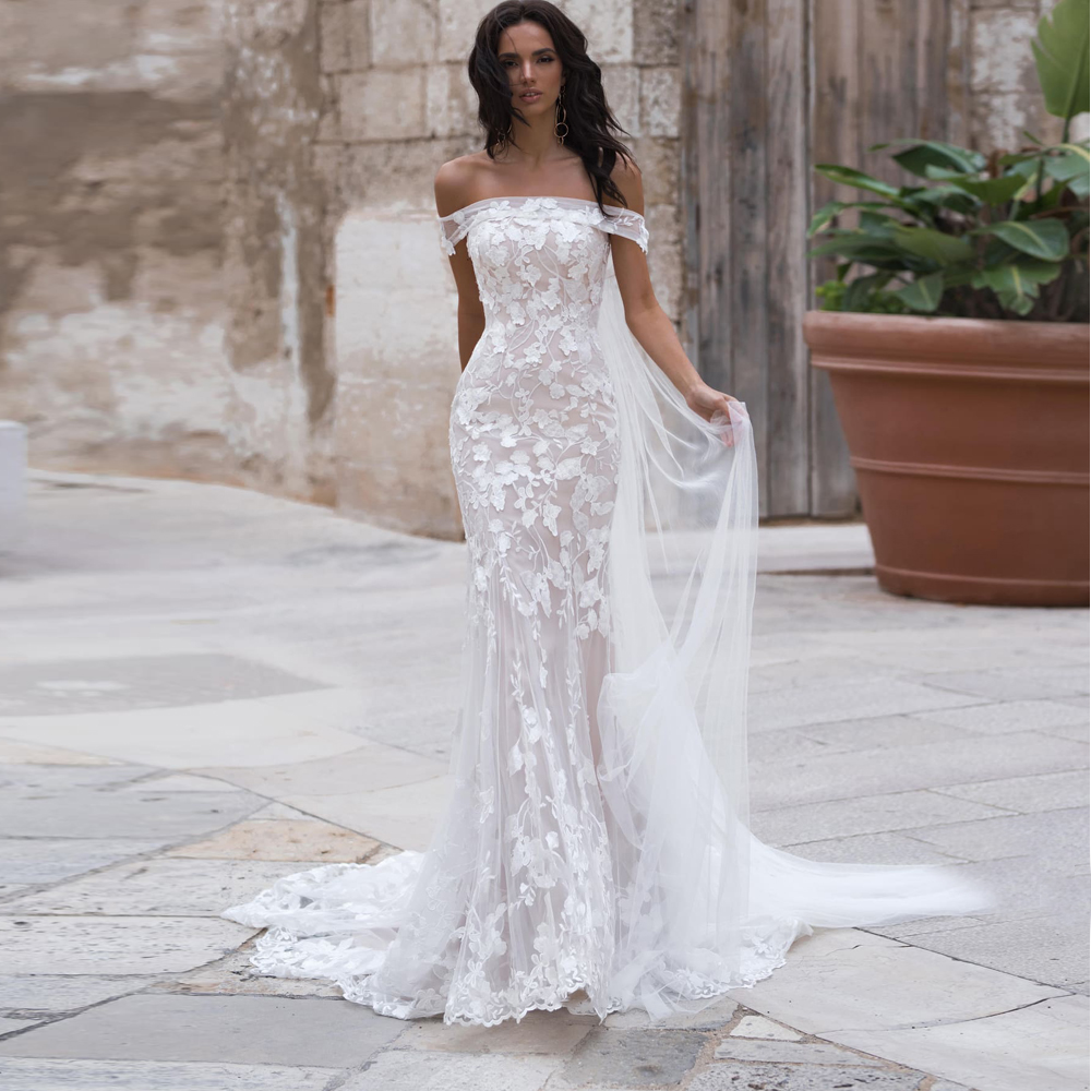 Romantic Mermaid Wedding Dresses With Wrap Custom Made Robe De Mairee Lace Bridal Gown Corset Bride Dress