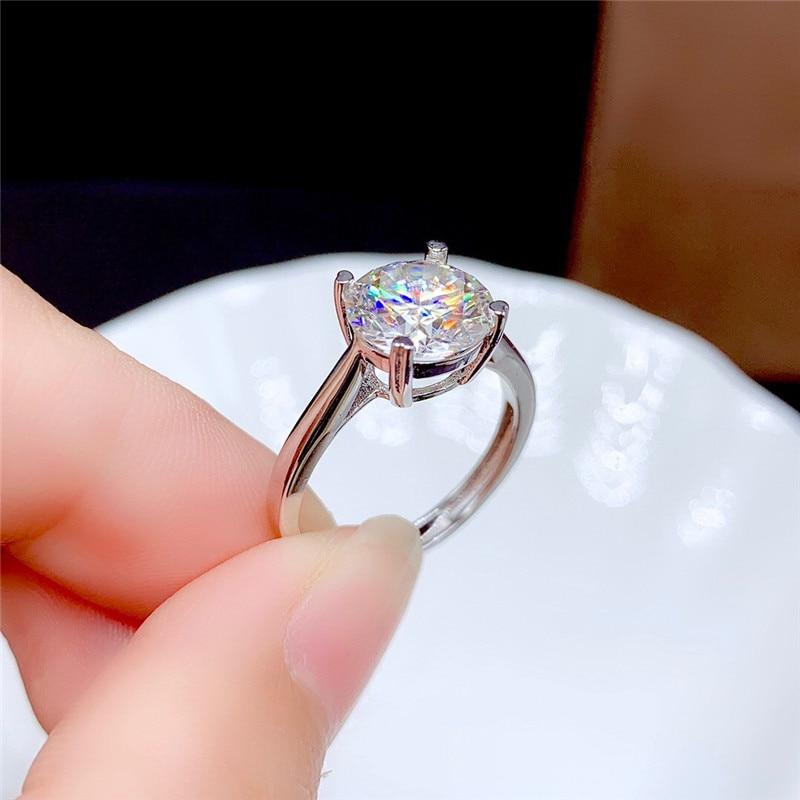 Moissanite-bague en diamant fin pour femmes, bijoux fins pour femmes, cadeau d'anniversaire en argent Sterling 925, 0.5CT 1CT 2CT 3CT VVS de laboratoire 4