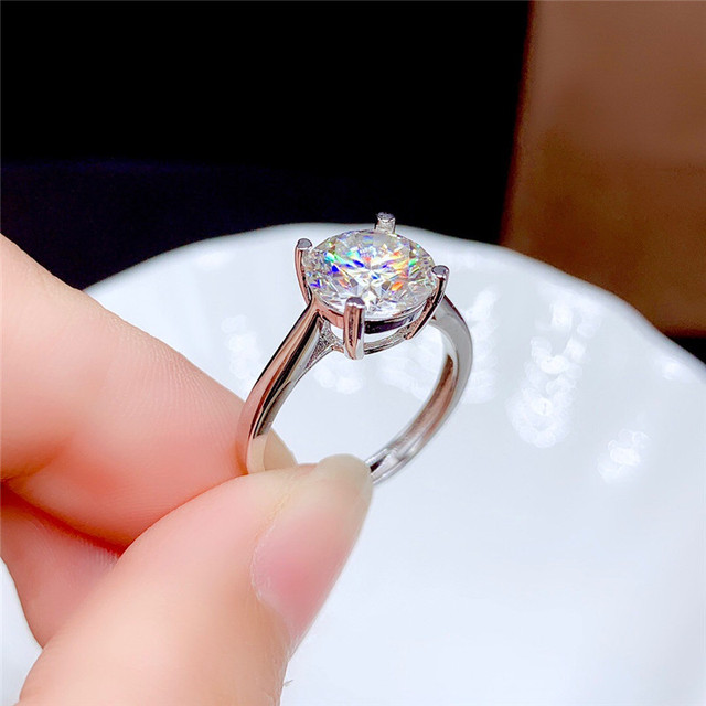 Moissanite Ring 0.5CT 1CT 2CT 3CT VVS Lab Diamond Fine Jewelry for Women Wedding Party Anniversary Gift Real 925 Sterling Silver 8