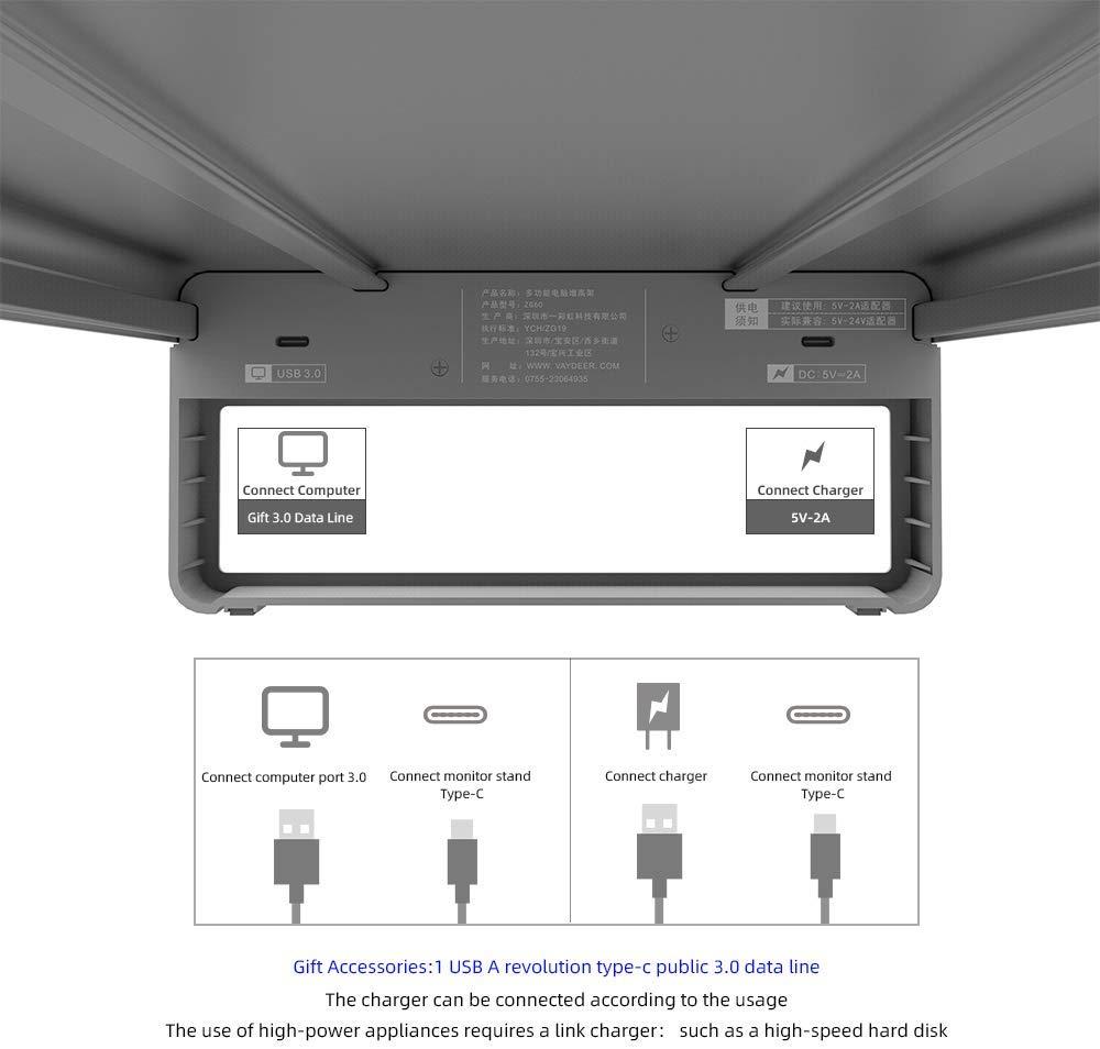 USB 3,0 Алюминиевый Монитор St, клавиатура и мышь настольный органайзер до 27 дюймов - 3