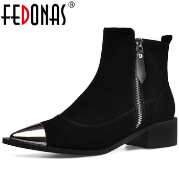 FEDONAS Newest Women Metal Pointed Toe Ankle Boots Brand Cow Suede Chelsea Boots Party Dancing Shoes Woman Big Size Basic Boots