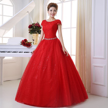 Red Bridal wedding dress ball gown summer new bride fashion tube top lace simple korean version vestidos de novia