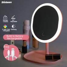 Oplaadbare Usb Maken Licht Spiegel Decoratieve Vergrootglas Led Kaptafel Spiegel Lamp Met Verlichting 3 Licht Kleur Dimmen