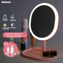 Wiederaufladbare USB Machen Up Licht Spiegel Dekorative Vergrößerungs Led Dressing Tisch Spiegel Lampe Mit Lichter 3 Licht Farbe Dimmen