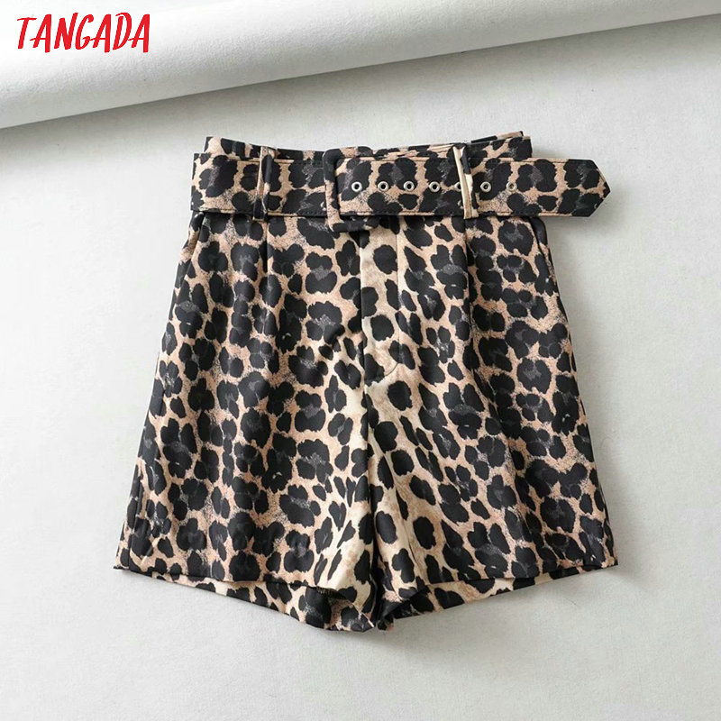 Tangada Women Vintage Leopard Print Skirt Shorts With Belt Zipper Female High Waist Ladies Casual Shorts 1Y09