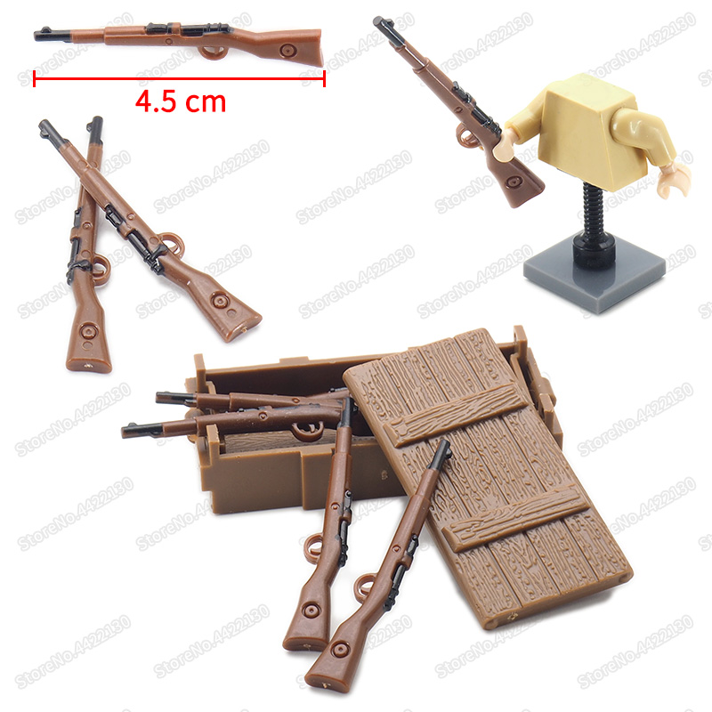 World War 2 Rifle Military Weapons Building Block Assemble Figures Army Moc Battlefield Diy Model Educational Christmas Gift Toy