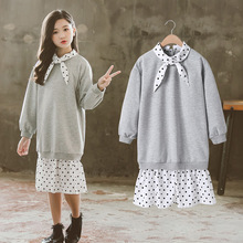 Clothes For Girls Kids Fashion Dot Dresses In A Grey Top Spring Autumn  Dress Girls Outfits 8 9 10 11 12 13 14 Years kids dresses for girls sweaters 2017 new autumn cotton sweater dress for girls clothing school kids clothes 10 11 12 13 14 years