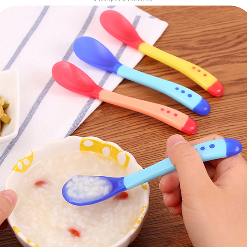 4 Colors Baby Spoon Temperature Sensing Spoon For Kids Boys Girls Silicone Spoons Feeding Baby Spoons Toddler Flatware