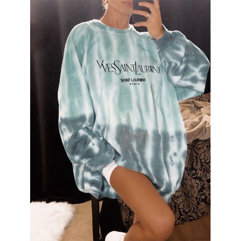 2020 New Chic Latter Print Tie Dye Girls Women Sweatshirt Oversized Long Sleeve Casual Pullovers Tops Fashion Plus Size Clothes 1