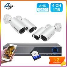 Defeway kit de vigilância por vídeo 1080p hd dvr cctv sistema para a segurança em casa 4pcs ahd câmera de vigilância por vídeo conjunto com 1tb hdd