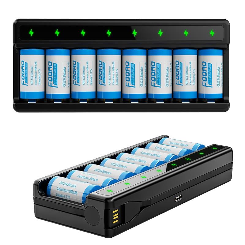 800mah recarregável 3.7v li-ion 16340 baterias cr123a bateria para arlo16340 bateria e usb 8-slot inteligente cr123a carregador de bateria