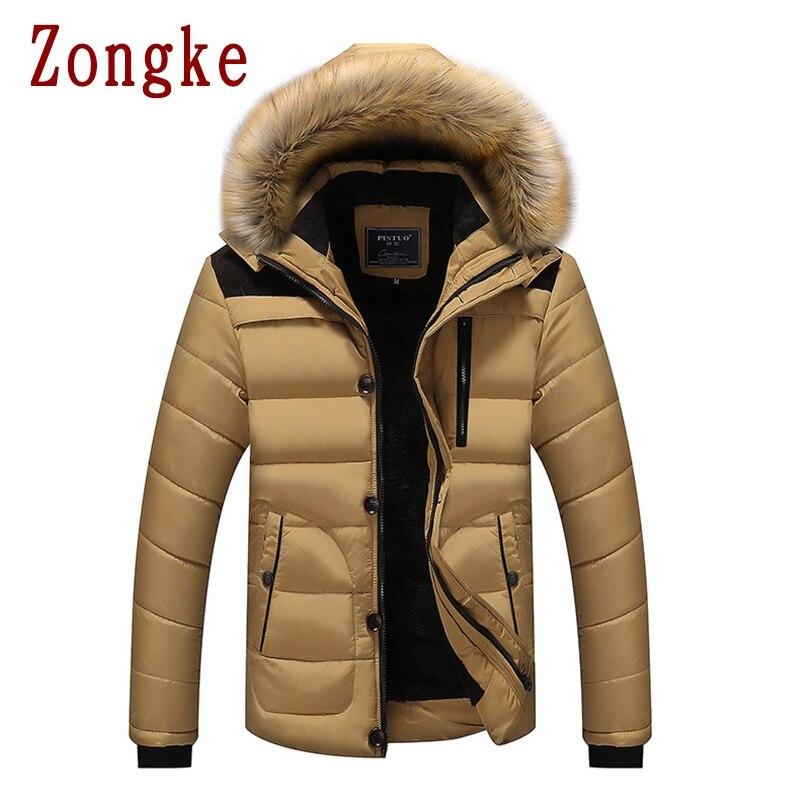 Zongke худи зимняя мужская куртка с капюшоном, пальто с меховыми кисточками, осенняя парка, зимнее пальто, Мужская одежда, мужская парка 2020, зим...