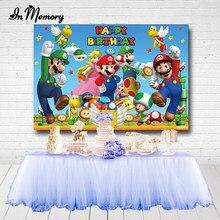 Inmemory super mario o jogo festa fotografia backdrops meninos criança feliz aniversário foto fundo qualidade vinil personalizado