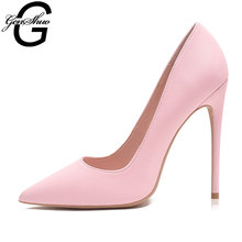 Stiletto-Heels Pumps Wedding-Shoes Pink Women Pointed-Toe Sexy GENSHUO Shallow for Party