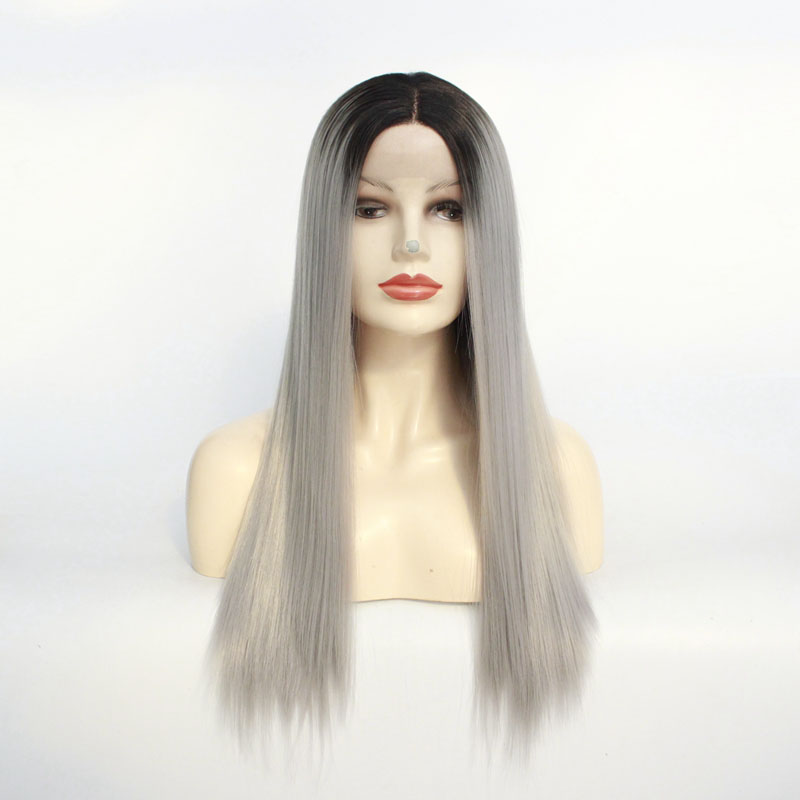 Ombre Gray 2 Tones Synthetic Lace Front Wig Dark Roots Natural Straight Silver Grey Synthetic Hair Wigs For Women Heat Resistant