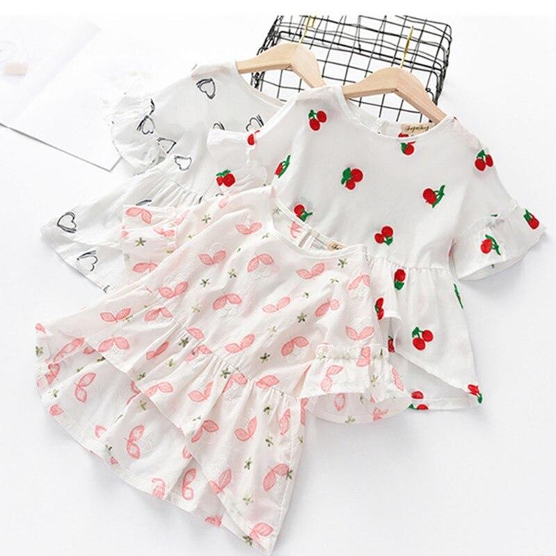 Kids Girl Summer Cotton Floral/Fruit Print  Tops Blouse Flare Sleeve Casual Irregular Design Tee Shirts
