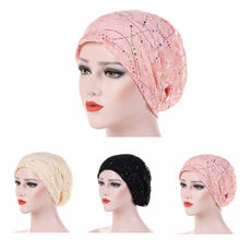 Women's Fashion New Lace Scarf Caps Muslim Cap Turban Chemo Beanie Hat Women Hair Accessories