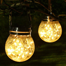 Solar Light Hanging Glass Landscape Lamp Outdoors Decorative Garden Waterproof