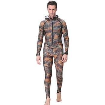Traje de buceo y pesca submarina Xl, traje de buceo de piel de camuflaje, traje de buceo de una pieza con capucha, protección contra rayos Uv, traje de buceo para hombres