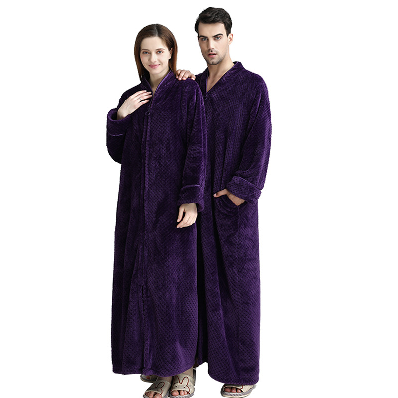 Man Winter Thermal Plus Size Extra Long Thick Grid Flannel Bathrobe Pregnant Zipper Warm Bath Robe Dressing Gown