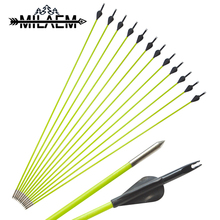 12 Pcs Archery Fiberglass Arrow Spine 600 With OD5 mm Fixed Fit For 10-30 lbs American Hunting And Straight Bow
