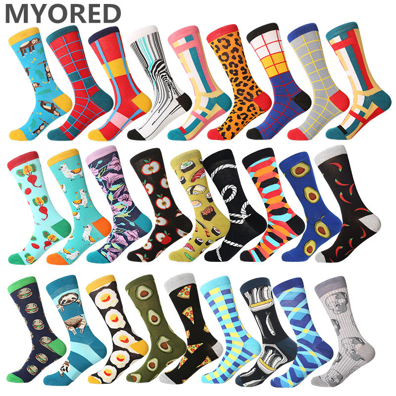 MYORED 2019 Date Men Dress Color Comfortable Pair Roller Skateboard For Causal Reason Funny Wedding Socks Socks Shark Geometry