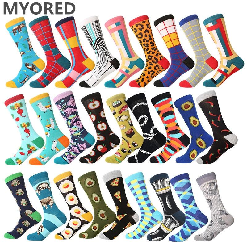 MYORED 2019 Date Men Dress Color Comfortable Pair Roller Skateboard For Causal Reason Funny Wedding Socks Socks Shark Geometry