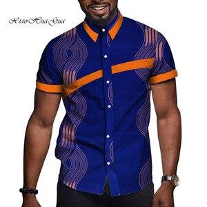 Image 3 - 아프리카 남자 옷 Bazin Riche 인쇄 인과 파티 남자 짧은 소매 탑스 셔츠 Dashiki Ankara WYN714