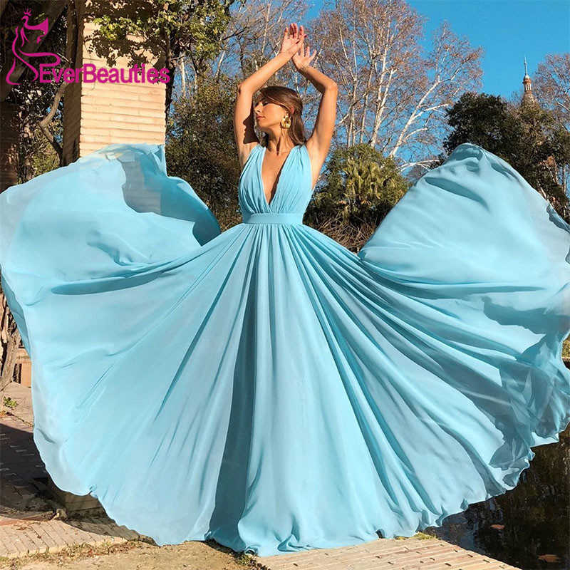 Evening Dress Long 2020 Elegant Chiffon Dress V Neck Simple Prom Party Vestidos De Festa Sleeveless Vestido De Festa