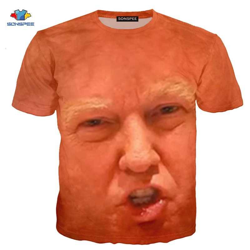 SONSPEE دونالد ترامب تي شيرت ثلاثية الأبعاد مضحك العضلات ترامب تي شيرت الهيب هوب الرجال ملابس عصرية قميص الاطفال الأمريكية الكرتون الرجال قميص
