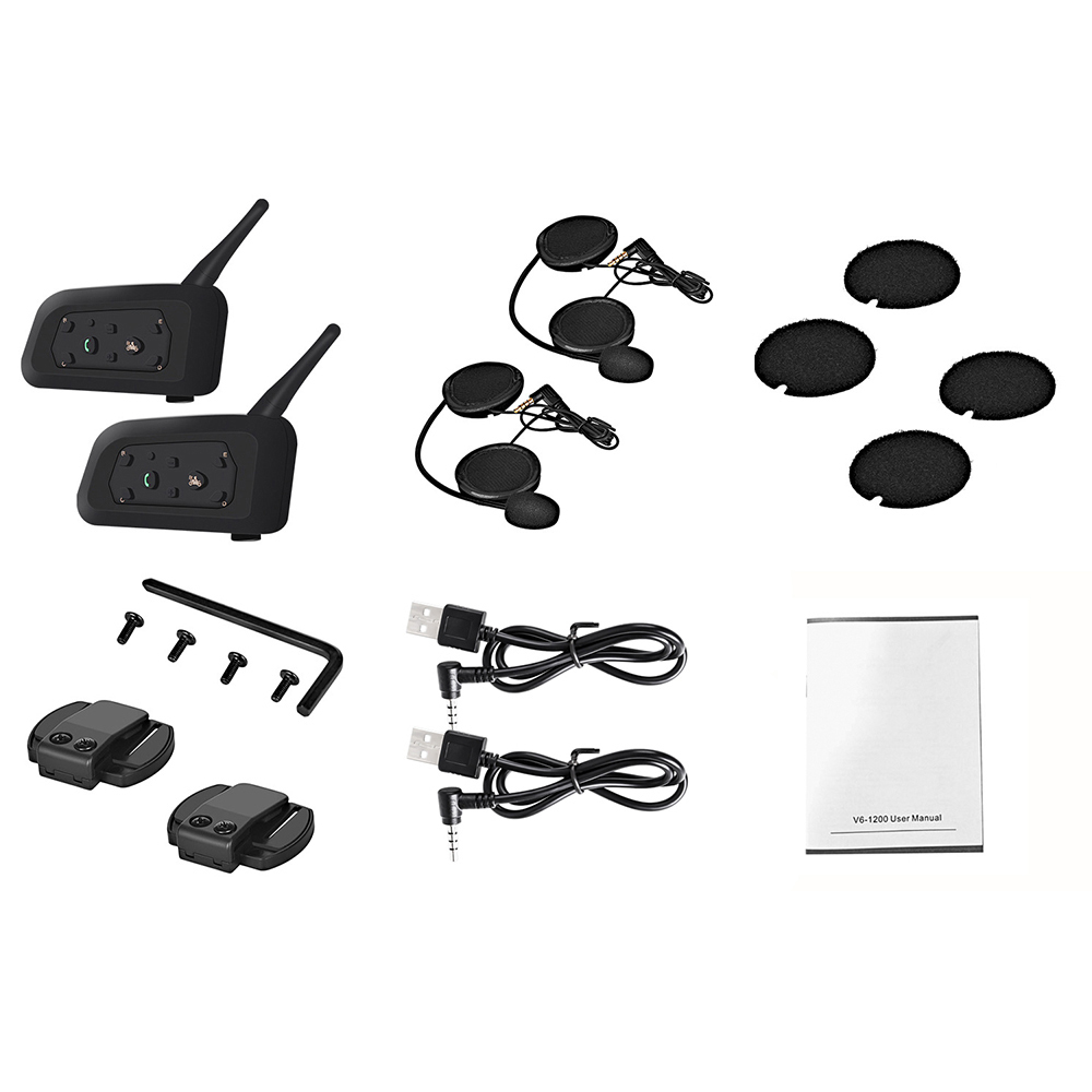 2pcs Wireless Bluetooth Motorcycle Helmet Intercom 1200M Wireless Helmet Interphone Headset For Motorbike