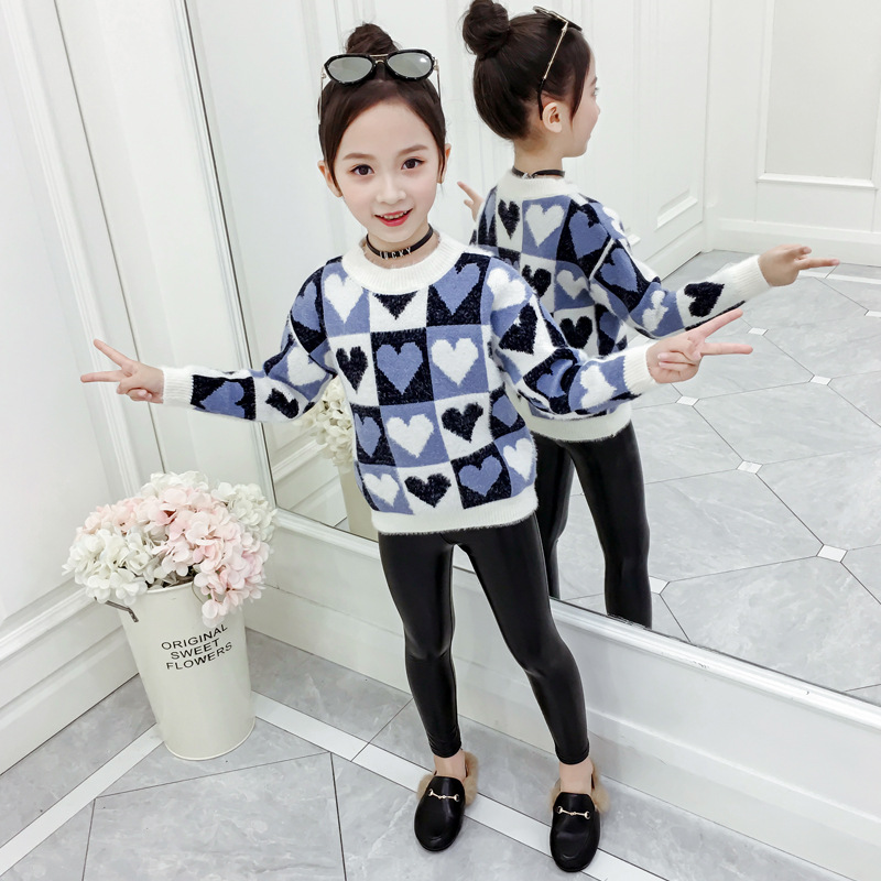 2019 Autumn Childrenswear Girls Heart Cartoon Pullover Big Boy-Korean-style Yarn Mink Cashmere Coat Kids' Sweater