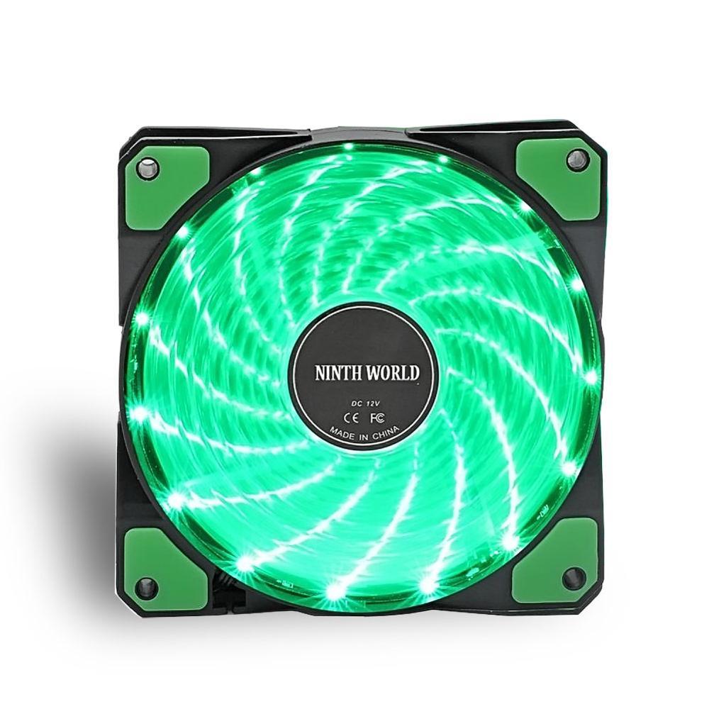 120 мм ПК компьютер 16 дБ Ультра тихий 15 светодиодов чехол вентилятор Радиатор охлаждения ж/Антивибрационная резина, 12 см вентилятор, 12В DC 3P IDE 4pin - Цвет лезвия: 1 pcs Green fan