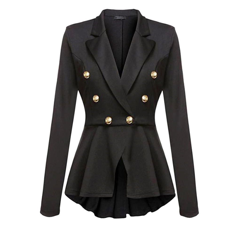 Lady Office Blazer Women Ruffles Gothic Black Slim Formal Double-Breasted Blazers Female Solid Coor Spring Casual Coats
