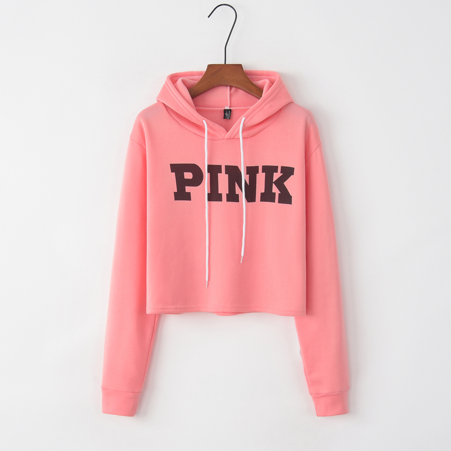 2019 Europe And America Fashion Women Sexy Short Paragraph Exposed Umbilical Hole Design Hooded Pink Letter Print Hoodies Womens