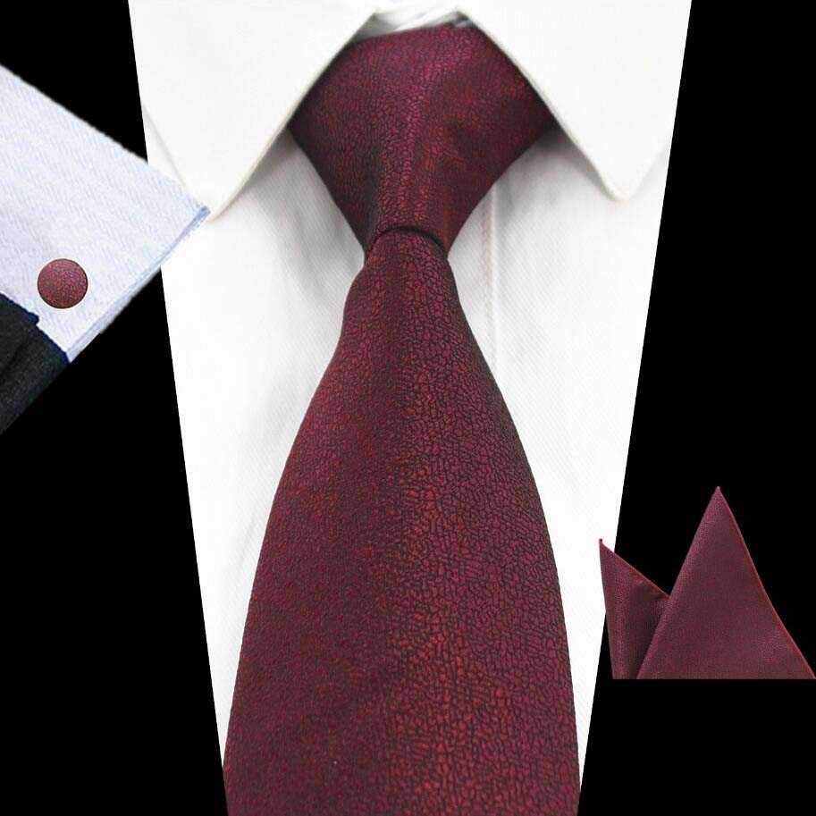 Ricnais Brand Fashion 8cm Solid Necktie Set Green Black Pocket Square Cufflinks Set For Men Business Wedding Silk Ties Sets