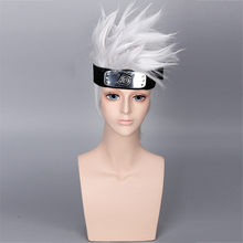 NARUTO Hatake Kakashi Cosplay Wigs Halloween Party Anime Stage Play Cosplay Silver White Short Hair Head Costume(China)
