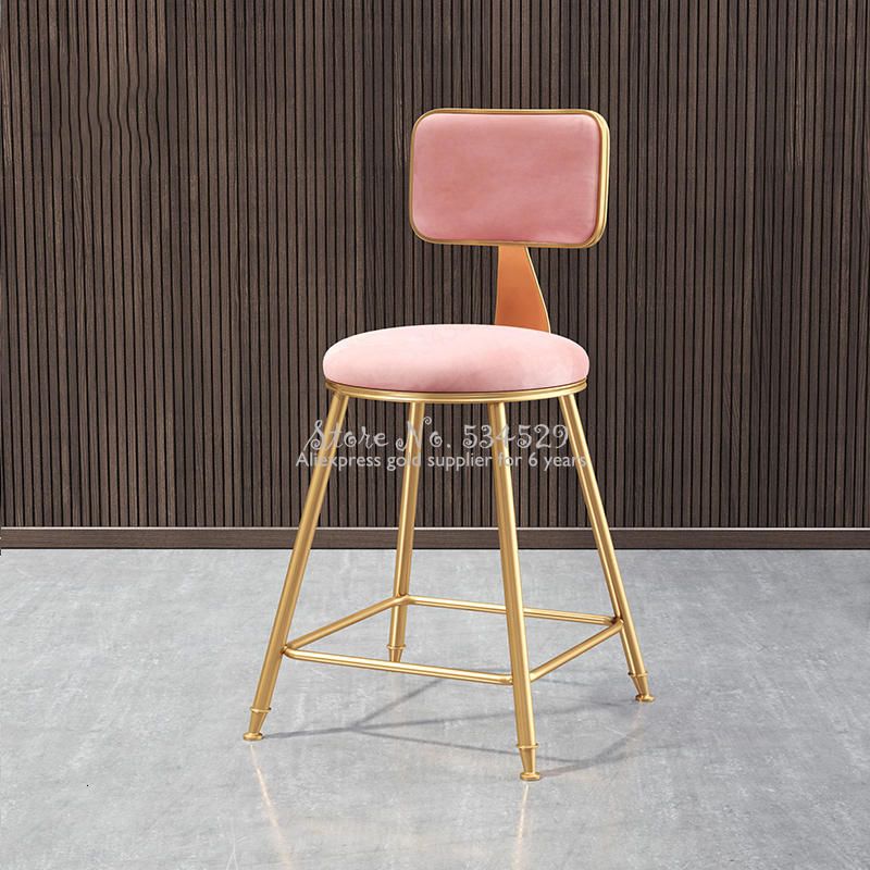 30%Nordic Bar Stool Wrought Iron Ins Creative Table Gold Lift Cafe Back Net Red High Chair Simple