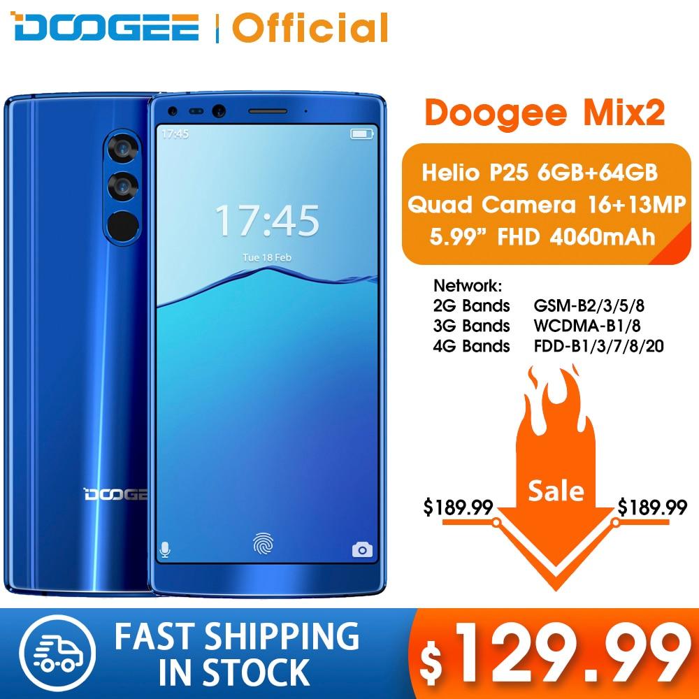DOOGEE Mix 2 6GB RAM 64GB ROM Helio P25 Octa Core 5.99'' FHD+ Smartphone Quad Camera 16.0+13.0MP 8.0+8.0MP Android 7.1 4060mAh|octa core|6gb ram|android android - title=