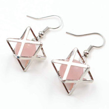 FYJS Unique Female Jewelry Silver Plated Merkaba Star Point Natural Rose Pink Quartz Drop Earrings