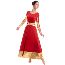 Praise Dance Dress Adult Women Long Sleeve Metallic Splice Church Costume High Waist Pleated Liturgical
