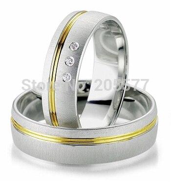 Bague en plaqué or bicolore style européen personnalisé santé titane fiançailles et anneaux de mariage pour hommes et femmes couple