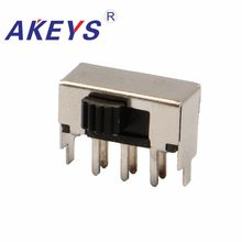 10 Pcs SK-22F03 2P2T Tiang Ganda Double Lempar Menangani Heights 3.0 Mm Slide Switch Sisi Insert 6 Pin dengan 2 pin Tetap(China)