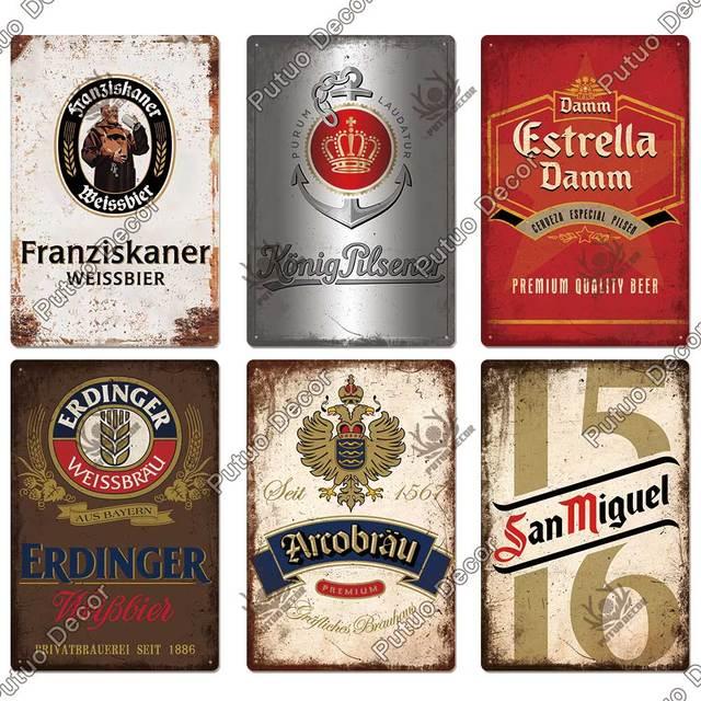 Putuo Decor Beer Brand Vintage Metal Sign Tin Sign Decorative Plaque Wall Decor Bar Pub Man Cave Living Room Decoration