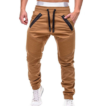 Men Casual Joggers Pants Solid Thin Cargo Sweatpants  2