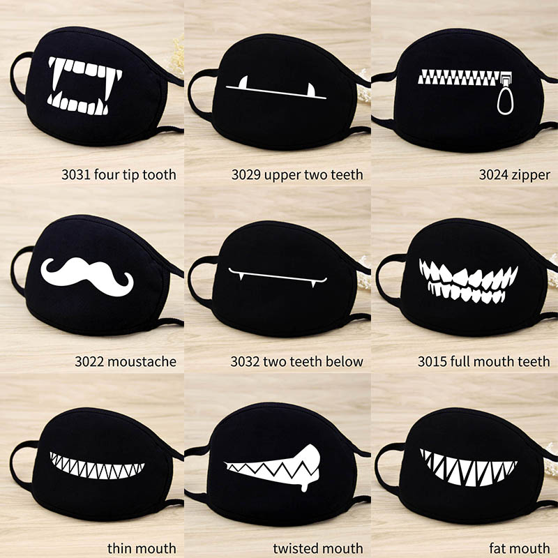 Cute Cartoon Funny Mouth Face Mask Unisex Keep Warm Black  Thicken Mouth Mask Lucky Bear Women Men Soft Anti-Fog Anti-Dust Mask