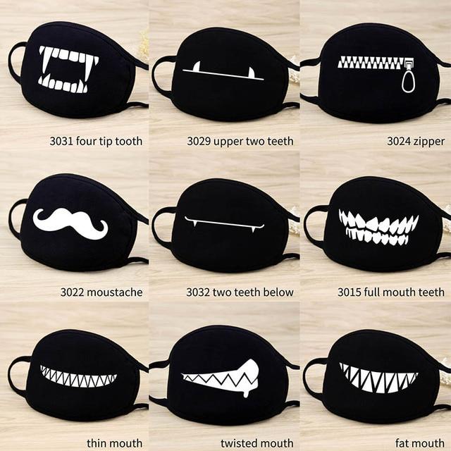 Cute Cartoon Funny Mouth Face Mask Unisex Keep Warm Black  Thicken Mouth Mask Lucky Bear Women Men Soft Anti-Fog Anti-Dust Mask