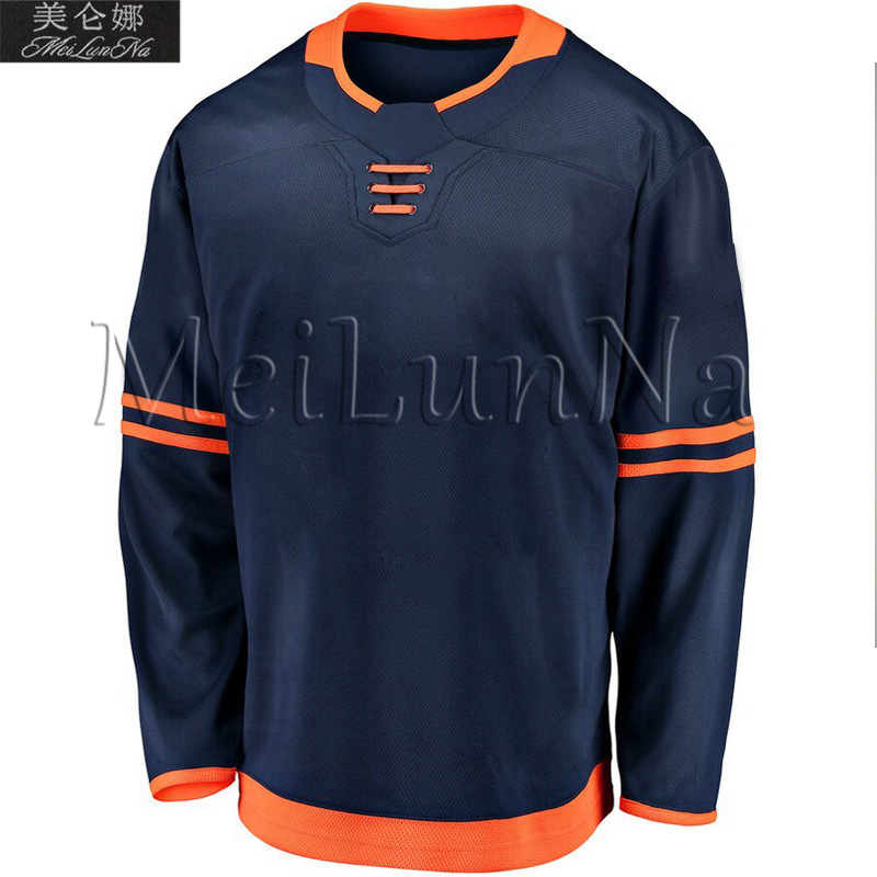 Connor McDavid Leon Draisaitl Wayne Gretzky Blank Edmonton 2019 New Navy Blue Alternate Hockey Jerseys