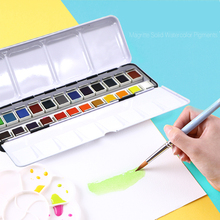 SeamiArt 12/24Color Solid Watercolor Pan Paint Set Portable Tin Box Pigment for Drawing Paper Art Supplies