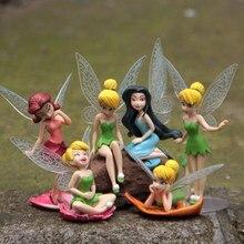 6 pçs/set Caçoa o Presente de Natal Bonecos Voando de Flor De Fadas Tinkerbell Crianças Animação Brinquedos Dos Desenhos Animados Meninas Do Bebê Brinquedo WJ436